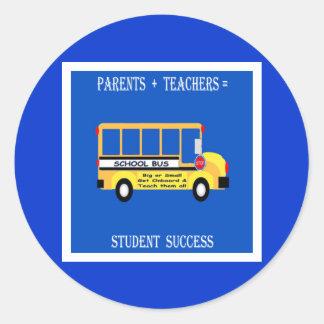 Padres + Profesores = éxito del estudiante Pegatina Redonda