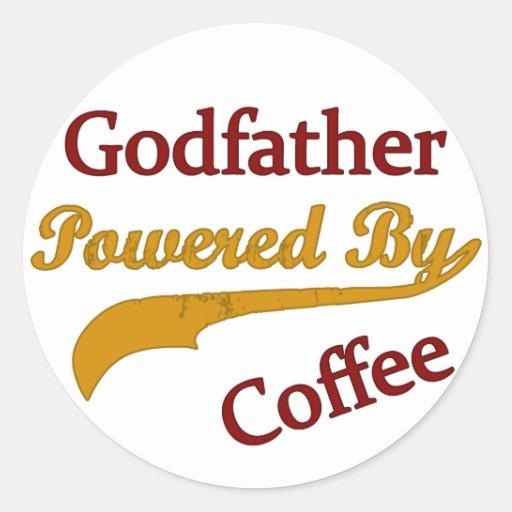 Padrino accionado por el café pegatina redonda