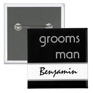 Padrino de boda - botón moderno blanco y negro del