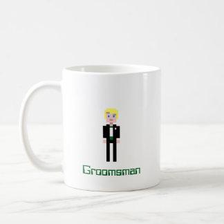 Padrino de boda del pixel - verde taza de café