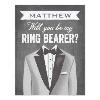 """Padrino de boda del portador de anillo de la invitación 4.25"""" x 5.5"""""""