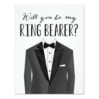 """Padrino de boda del portador de anillo del smoking invitación 4.25"""" x 5.5"""""""