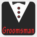 Padrino de boda en Tux Calcomania Cuadrada Personalizada