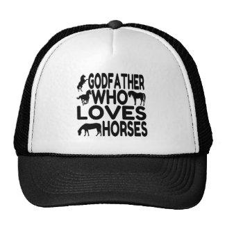 Padrino del amante del caballo gorros bordados