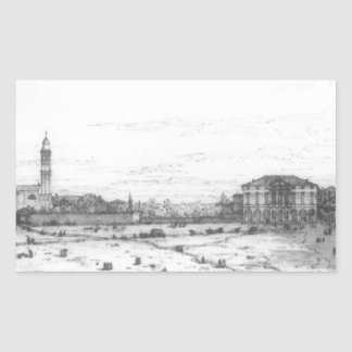 Padua: The Prato della Valle with Santa Giustinia Rectangular Sticker