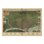 Paducah Kentucky 1889 Antique Panoramic Map Print