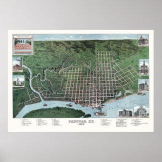 Paducah, mapa panorámico de KY - 1889 Impresiones