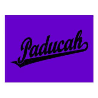 Paducah script logo in black distressed postcard