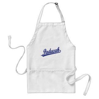 Paducah script logo in blue adult apron