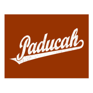Paducah script logo in white distressed postcard