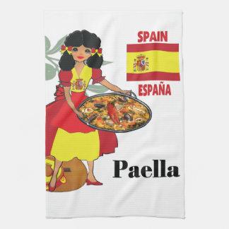 Paella español de la toalla de cocina