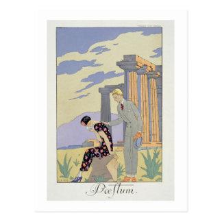 Paestum, 1924 (pochoir print) postcard