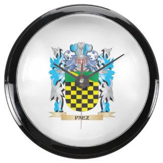 Paez Coat of Arms - Family Crest Aquavista Clock