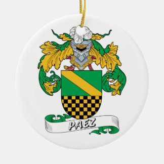 Paez Family Crest Double-Sided Ceramic Round Christmas Ornament