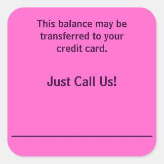 Paga de los pegatinas de facturación de la tarjeta calcomania cuadradas personalizadas