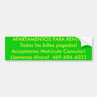Pagado de los billes de APARTAMENTOS PARA RENTARTo Etiqueta De Parachoque