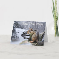 Pagan Blessed Winter Solstice Chipmunk Card