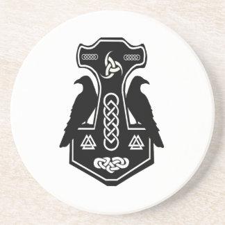Pagan Celtic Norse Thor's Hammer Beverage Coaster