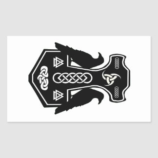 Pagan Celtic Norse Thor's Hammer Rectangle Stickers