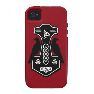 Pagan Celtic Thor's Hammer with Ravens iPhone 4 Cover