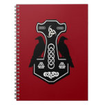 Pagan Celtic Thor's Hammer with Ravens Spiral Notebook