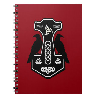 Pagan Celtic Thor's Hammer with Ravens Spiral Note Book