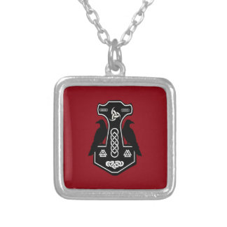 Pagan Celtic Thor's Hammer with Ravens Square Pendant Necklace