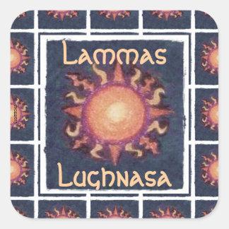 Pagan de la cosecha de Lammas/Lughnasa Sun Pegatina Cuadrada