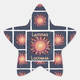 Pagan de la cosecha de Lammas/Lughnasa Sun Pegatina En Forma De Estrella