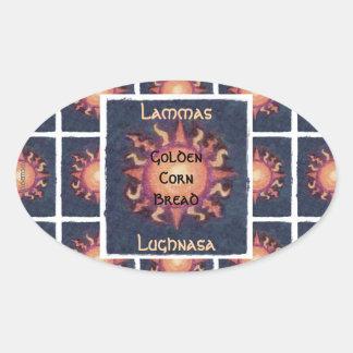 Pagan de la cosecha de Lammas/Lughnasa Sun Pegatina Ovalada