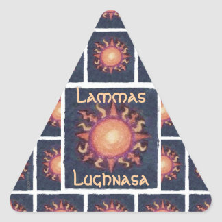 Pagan de la cosecha de Lammas/Lughnasa Sun Pegatina Triangular
