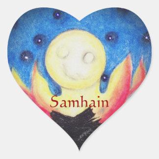 Pagan de Wiccan de la bruja de Samhain de la luna Pegatina En Forma De Corazón