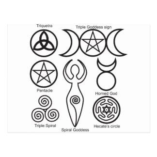 Pagan diffrent symboler wicca,pentacle,triquetra postcard