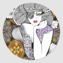 artsprojekt,pagan,diva,nouveau,woman,girl,flowers,female,portrait,illustration,hairstyle,fashion,hair,stylist,modern,young,teen,saloon,beauty,design,black,white,morning,minimalism,women,naive,stylists,salon,hairstylists,dresser,decor, Sticker with custom graphic design