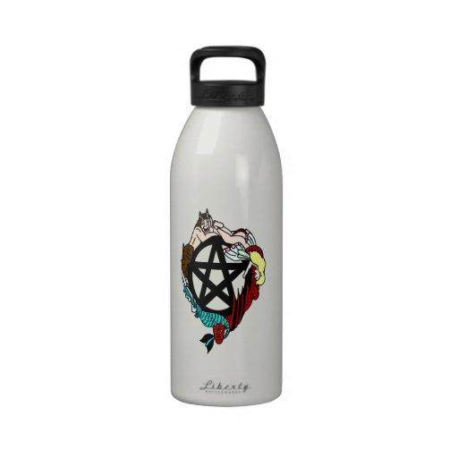 Pagan Elemental Faerie Pentacle Reusable Water Bottles