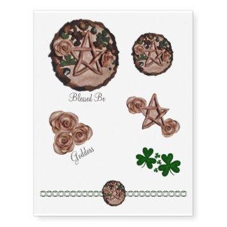 Pagan floral bonito de Wiccan de la bruja del Tatuajes Temporales