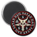 Pagan Hail Satan Baphomet Goat in Pentagram 2 Inch Round Magnet