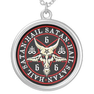 Pagan Hail Satan Baphomet Goat in Pentagram Silver Plated Necklace