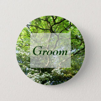 Pagan Hawthorn & Oak Handfasting Groom's Badge Pinback Button