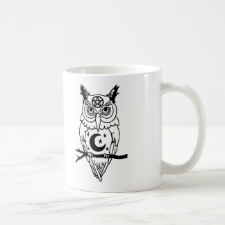 Pagan Owl with Pentacle and Moon Classic White Coffee Mug