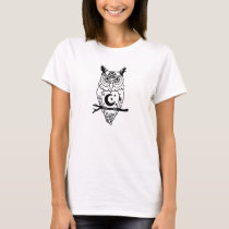 Pagan Owl with Pentacle and Moon T-Shirt