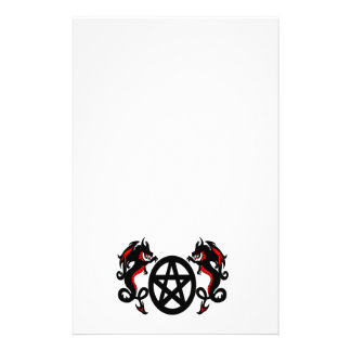 Pagan Pentacle and Red Dragons Stationery