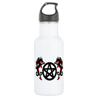 Pagan Pentacle and Red Dragons Water Bottle
