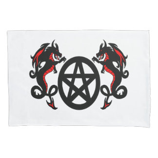 Pagan Pentacle and Two Red and Black Dragons Pillow Case