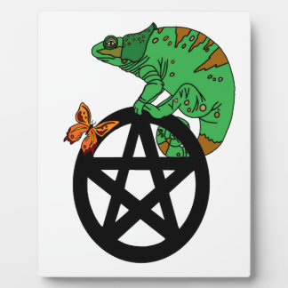 Pagan Pentacle with Lizard and Butterfly Plaque