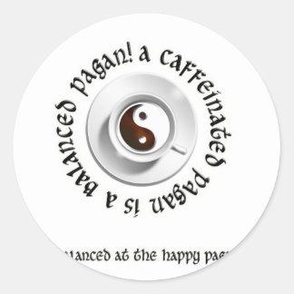 pagan.png caffeinated pegatina redonda