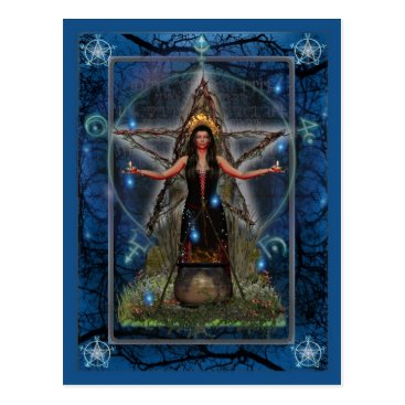 Halloween Themed Pagan Postcard - Spellweaver Witch 'Blue ~ Water'