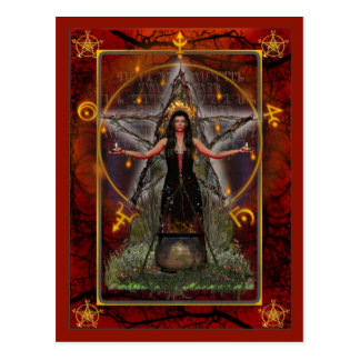 Pagan Postcard - Spellweaver Witch 'Red - Fire'