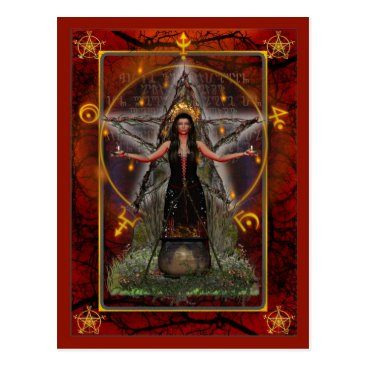 Halloween Themed Pagan Postcard - Spellweaver Witch 'Red - Fire'
