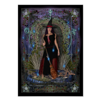 Pagan Poster - Blue Moon Witch & Dragon